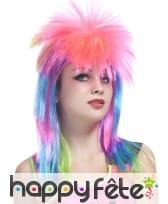 Longue perruque rock star rose et multicolore, image 1