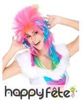 Longue perruque rock star rose et multicolore
