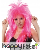 Longue perruque rock star rose unie, image 1