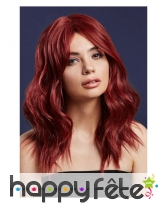 Longue perruque rouge rubis wavy