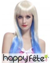 Longue perruque Tie & Dye blond et bleu, image 1