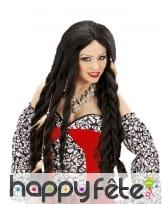 Longue perruque vaudou noire pour adulte