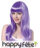 Longue perruque violette pâle avec frange droite