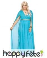 Longue robe bleue de déesse romaine grande taille