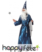 Longue robe bleue de magicien pour homme