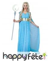 Longue robe bleue de princesse pour adulte