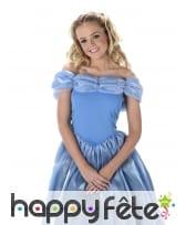 Longue robe bleue unie de princesse pour femme, image 1