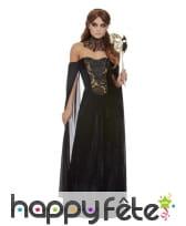 Longue robe bustier noire de femme vampire
