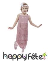 Longue robe Charleston rose pour enfant, à franges, image 1