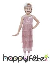 Longue robe Charleston rose pour enfant, à franges