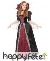 Large robe de vampiresse baroque avec grand col