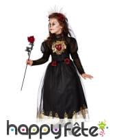 Longue robe de mariée noire pour enfant avec voile, image 1