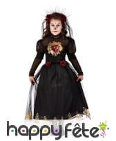 Longue robe de mariée noire pour enfant avec voile