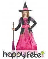 Longue robe de petite sorcière rose et noir