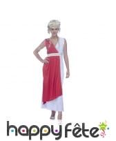 Longue robe de romaine blanche et rouge