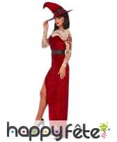 Longue robe de sorcière rouge échancrée, image 2
