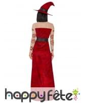 Longue robe de sorcière rouge échancrée, image 3