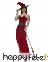 Longue robe de sorcière rouge échancrée, image 1