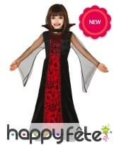 Longue robe de vampire noire et rouge pour enfant