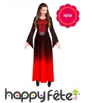 Longue robe dégradée rouge de sorcière pour femme