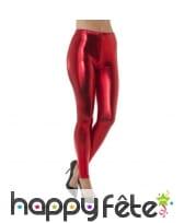 Legging rouge effet métallique