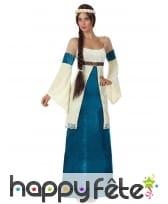 Longue robe et coiffe de princesse médiévale