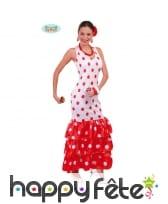 Longue robe flamenco blanche et rouge, à pois