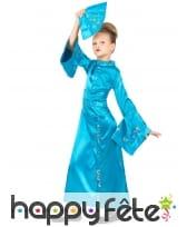 Longue robe kimono bleue asiatique pour enfant, image 1