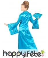 Longue robe kimono bleue asiatique pour enfant, image 2