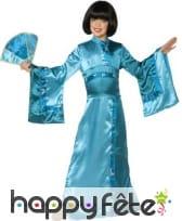 Longue robe kimono bleue asiatique pour enfant, image 3
