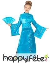Longue robe kimono bleue asiatique pour enfant