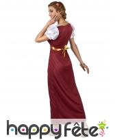 Longue robe médiévale bordeaux cintrée, image 2