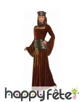 Longue robe médiévale effet velours