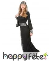 Longue robe médiévale noire et argentée, image 1