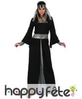 Longue robe médiévale noire et argentée, image 3
