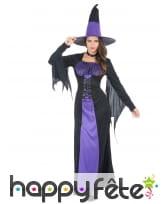 Longue robe noir violet de sorcière
