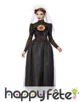Longue robe noire de Lady Calavera avec voile