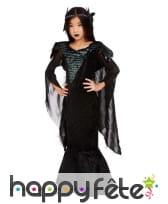 Longue robe noire de reine des corbeaux pour fille, image 1
