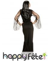 Longue robe noire de sorcière échancrée décolleté, image 1