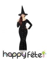 Longue robe noire de sorcière motifs occultes