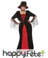 Longue robe noire rouge de femme vampire, image 1