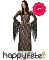 Longue robe noire transparente de sorcière