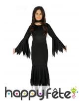 Longue robe noire unie de petite sorcière