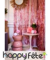 Long rideau rose brillant à franges, 92 x 244 cm, image 1