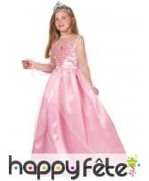 Longue robe rose de Princesse pour petite fille