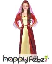 Longue robe rouge et jaune médiévale pour fille