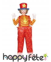 Large salopette de clown rouge jaune pour enfant