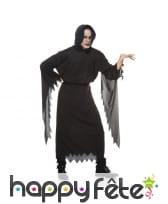 Longue tunique noire de fantôme pour adulte
