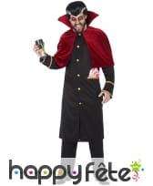 Longue veste de vampire noire avec cape rouge