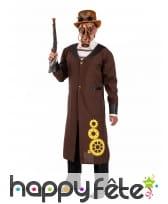 Longue veste steampunk marron avec jabot, homme